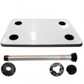 Complete white big card table with black plastic cupholders