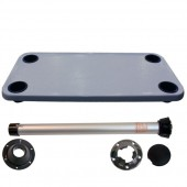 Complete gray large rectangle table with black plastic cupholders