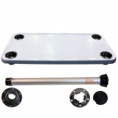 Complete white large rectangle table with stainless steel cupholders