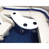 White Kidney Fiberglass Boat Table w/ Black Cupholders