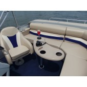 Tan Kidney Fiberglass Boat Table w/Black cupholders