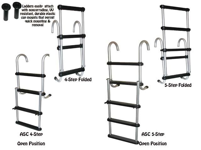 Removable Folding Pontoon Boat Ladder -J