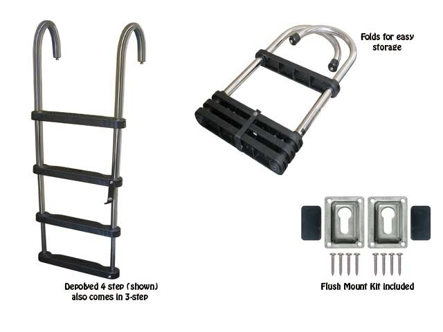 removable telescoping pontoon ladder